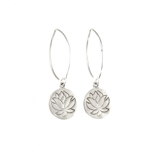 Col de cygnes argent fleur de lotus - SILVER EARRINGS - Boutique Nirvana