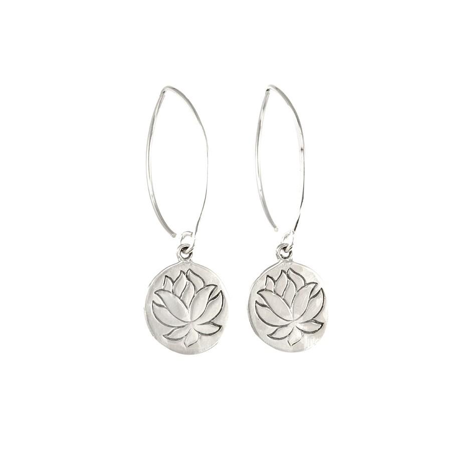 Col de cygnes argent fleur de lotus - SILVER EARRINGS - Boutique Nirvana