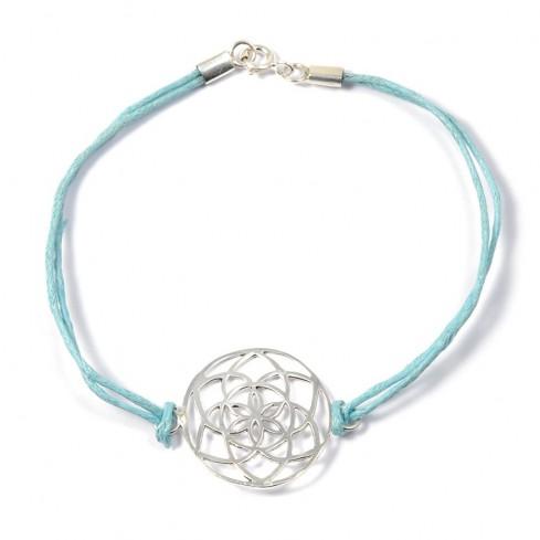 Bracelet cordon turquoise fleur de vie en argent