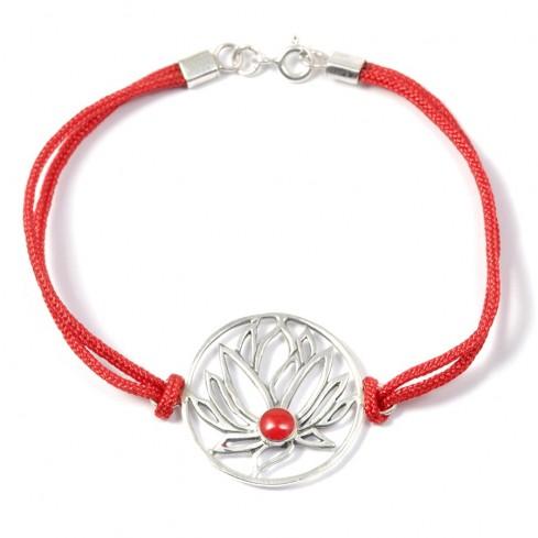 Bracelet cordon fleur de lotus