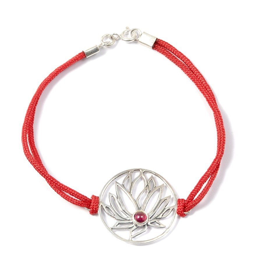Bracelet cordon fleur de lotus - Silver Bracelets - Boutique Nirvana