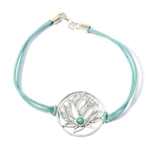 Bracelet cordon fleur de lotus - BRACELETS ARGENT - Boutique Nirvana
