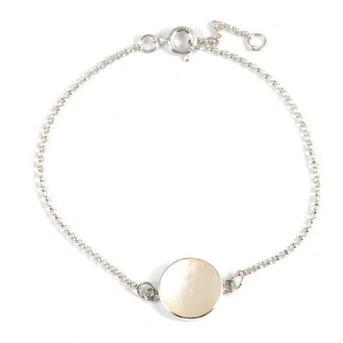Bracelet argent chaine et motif rond pierre - BRACELETS ARGENT - Boutique Nirvana