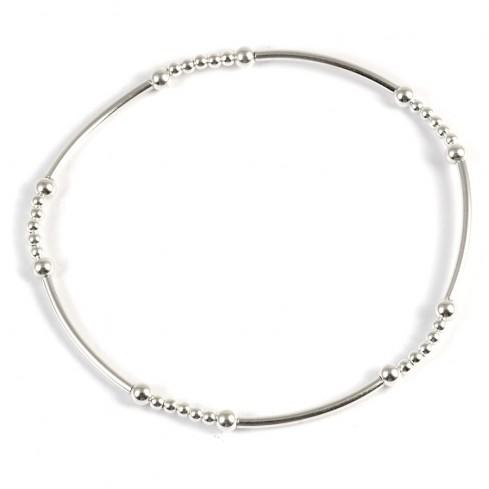 Bracelet fin perles d'argent