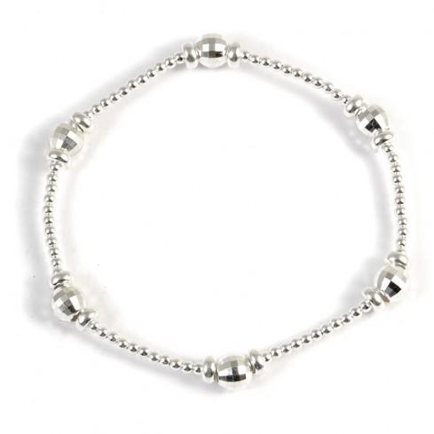 Bracelet argent perles à facettes - BRACELETS ARGENT - Boutique Nirvana