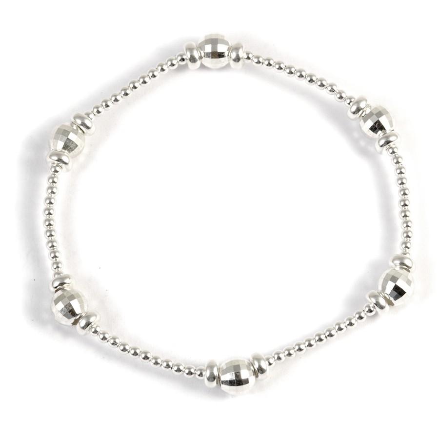Bracelet argent perles à facettes - Silver Bracelets - Boutique Nirvana