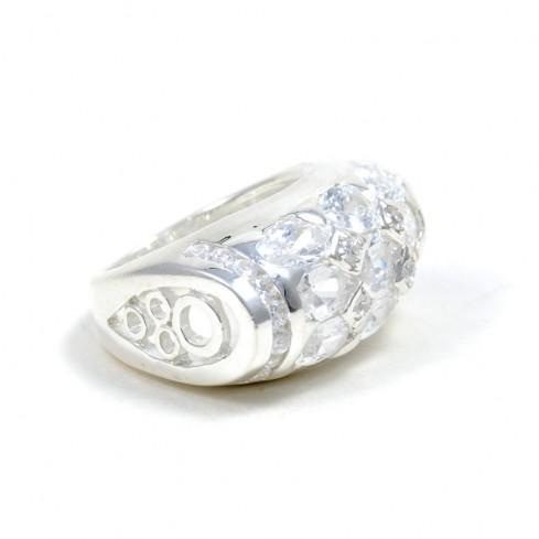 Grosse bague argent imitation diamant
