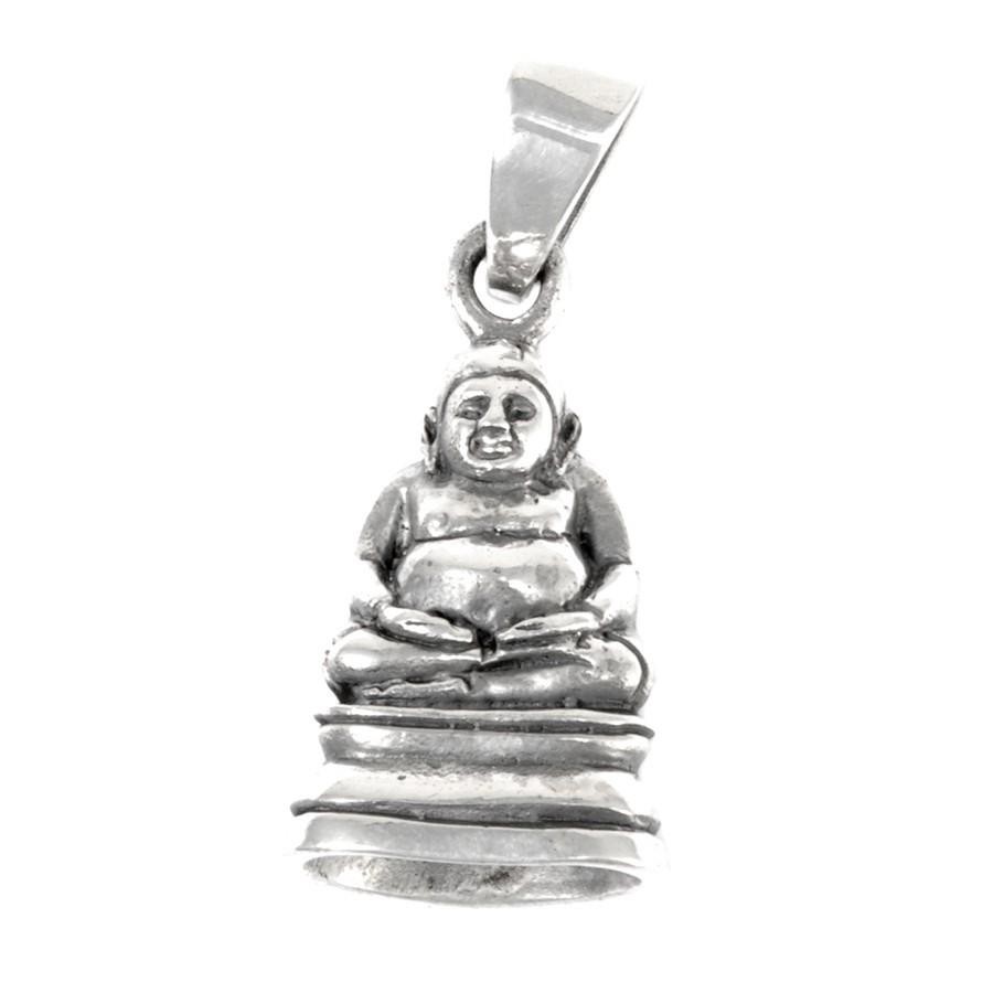 b28cc0f76bcc8 Petit pendentif Bouddha de la joie en argent