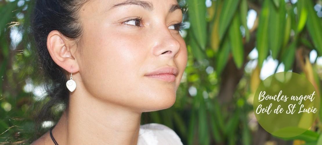 Category Sainte Lucie - Boutique Nirvana : Boucles d'oreilles Oeil de Ste Lucie pendante avec contour d'argent , Boucles d...