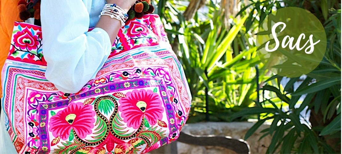 Category BAGS - Boutique Nirvana : Ethnic Embroidered Bags , Grand sac ethnique broderies et pompons , Grand sac ethnique bro...